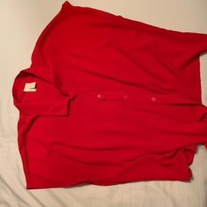 Red button-down tie front shirt